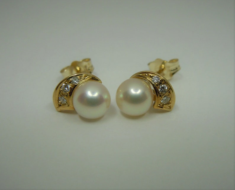 f1e467739ea30 BLUE LAGOON by MIKIMOTo - PEARL and DIAMONd STUd EARRINGs 14k YELLOw GOLd  5.7-5.8mm Salt water AKOYa cultured pearls and diamonds ear rings