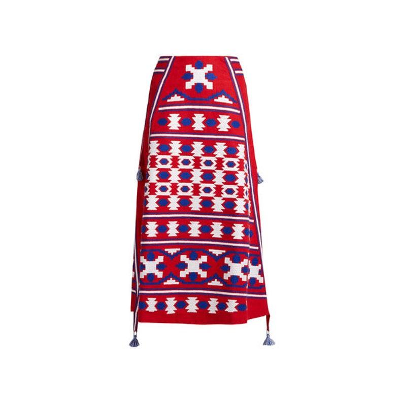 RED Midi Linen bohemian embroidered skirt with gometric pattern Vyshyvanka Boho skirt Vyshyvanka Ukrainian skirt Mexican style