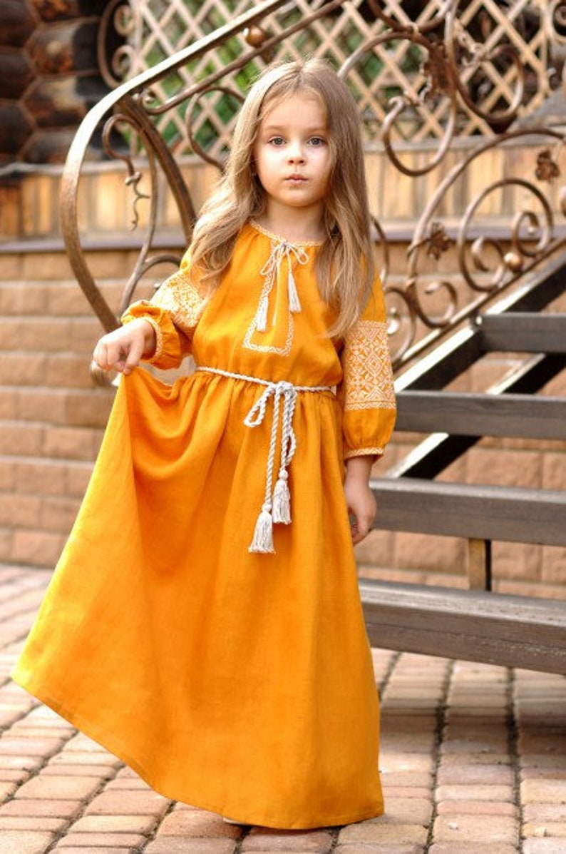 d84c79f898 FREE SHIP! Baby girl yellow-mustard dress, Embroidered girl's dress, Ethno  folk Modern girls dress, Mexican Ukrainian nationale dress for g