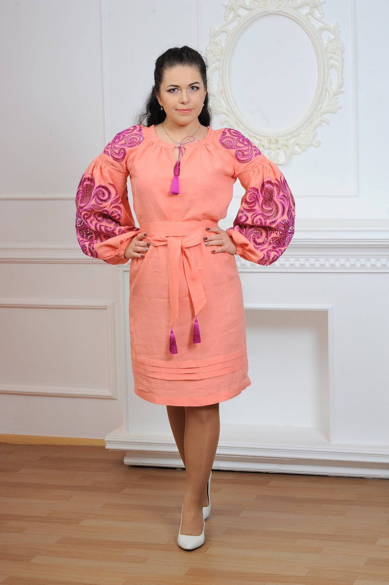 7123773998471 FREE SHIPPING!!! Boho Ukrainian Peach Linen Dress embroidered with  Richelieu/ Ukrainian Embroidery/Folk/Sarafan/Arabian Thobe. XS-4XL!!!