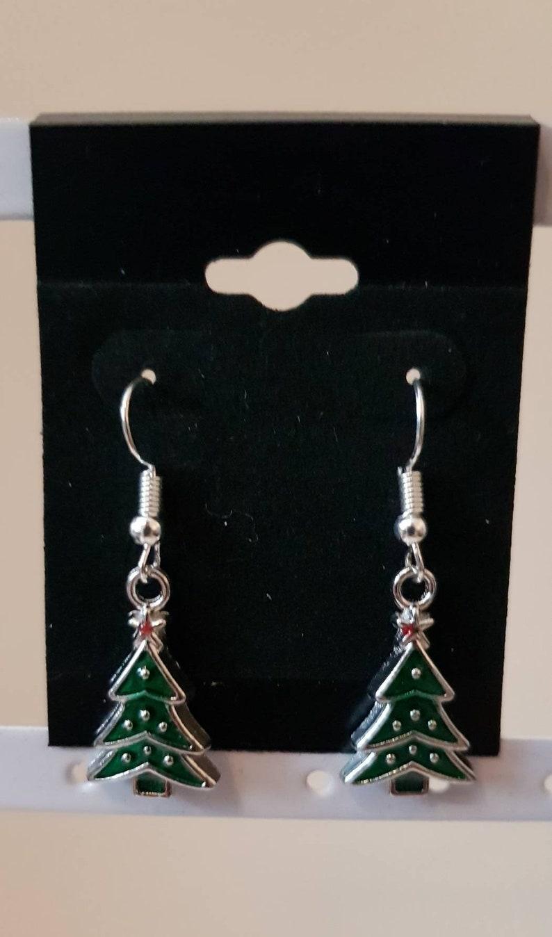 Tibetan silver Christmas present parcel gift earrings