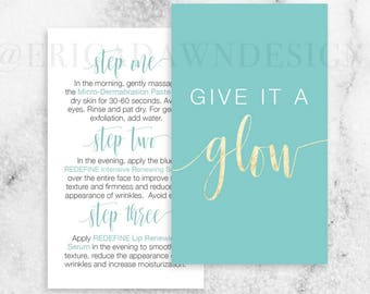 Rodan and Fields Give it a Glow Card // Rodan + Fields // Mini-Facial Card // Instant Download // R+F // R and F // Business Card