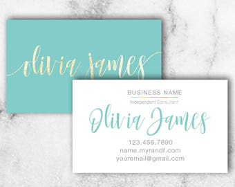 Skincare Business Card // Rodan + Fields Business Card // Blue and Gold Business Card // Give it a Glow
