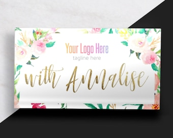 Boutique Business Card // Floral and Gold Business Card