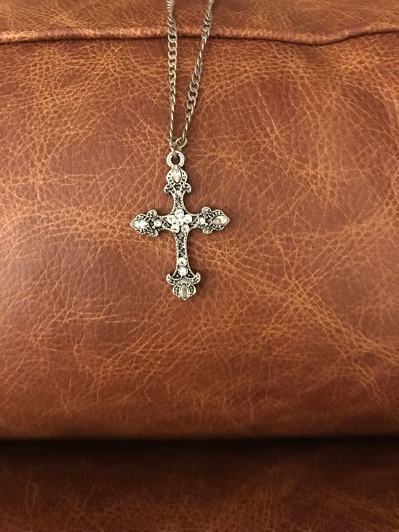 Silver Rhinestone Cross Necklace by Etsy