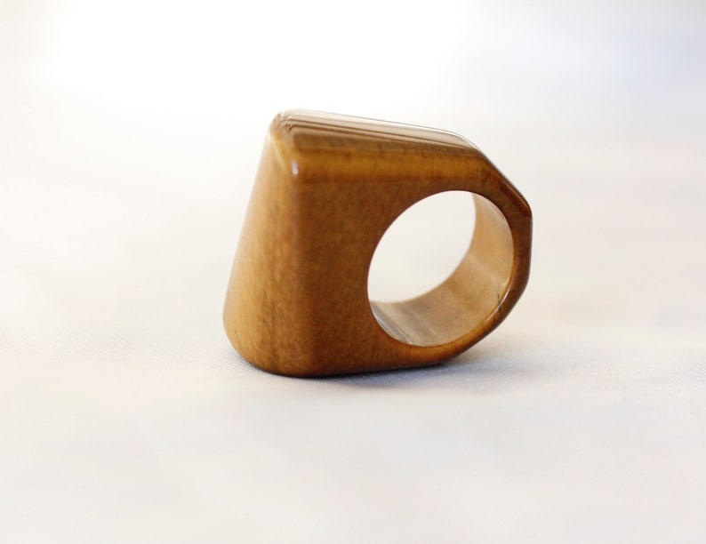 polygon ring 15mm Tiger eye brown raw stone ring 6 12 US SIZE
