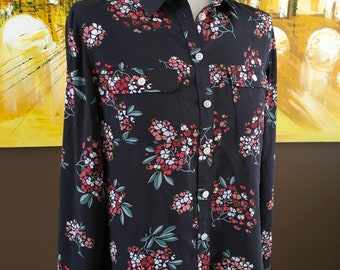 Vintage sheer button up floral blouse women's size small petite in nice condition