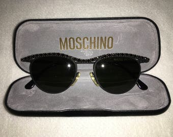 1990 Vintage Moschino cateye sunglasses black crystal embellishments comes with original case