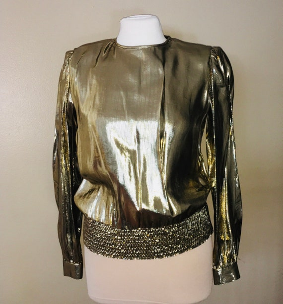 1980's Lloyd Williams gold metallic longsleeve blo