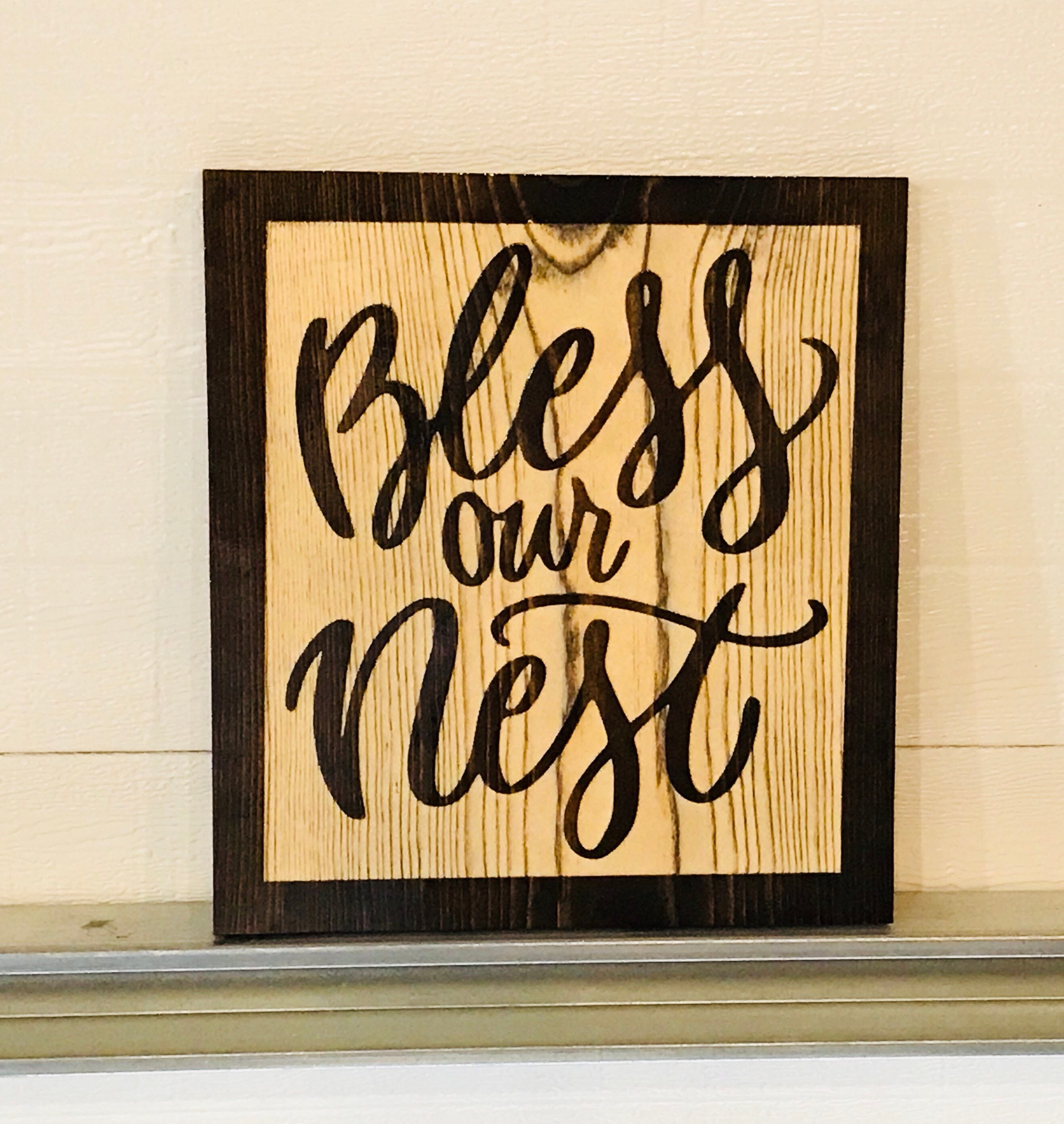 BLESS OUR NEST Up Carved Wall Decor