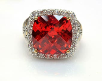 Sterling Silver Two Tone Rose Cut Red Cubic Zirconia Leaf Designed Ring