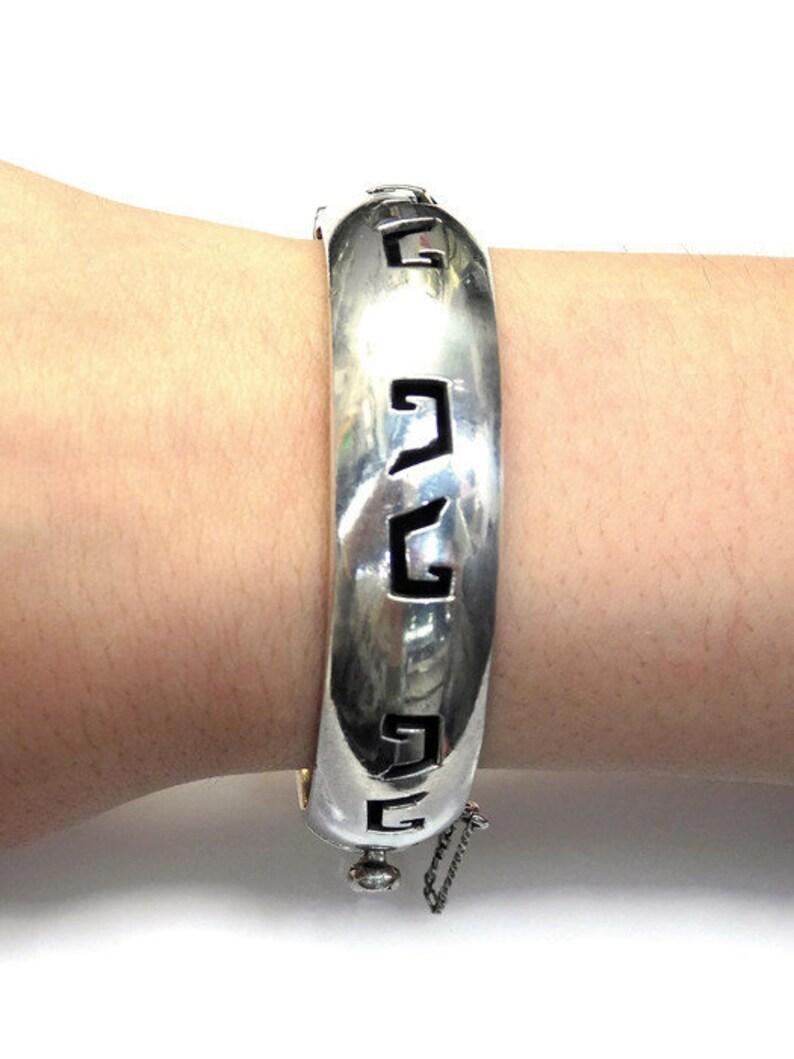 Sterling Silver Tribal Design Safety Chain Bangle Bracelet # 263704845641