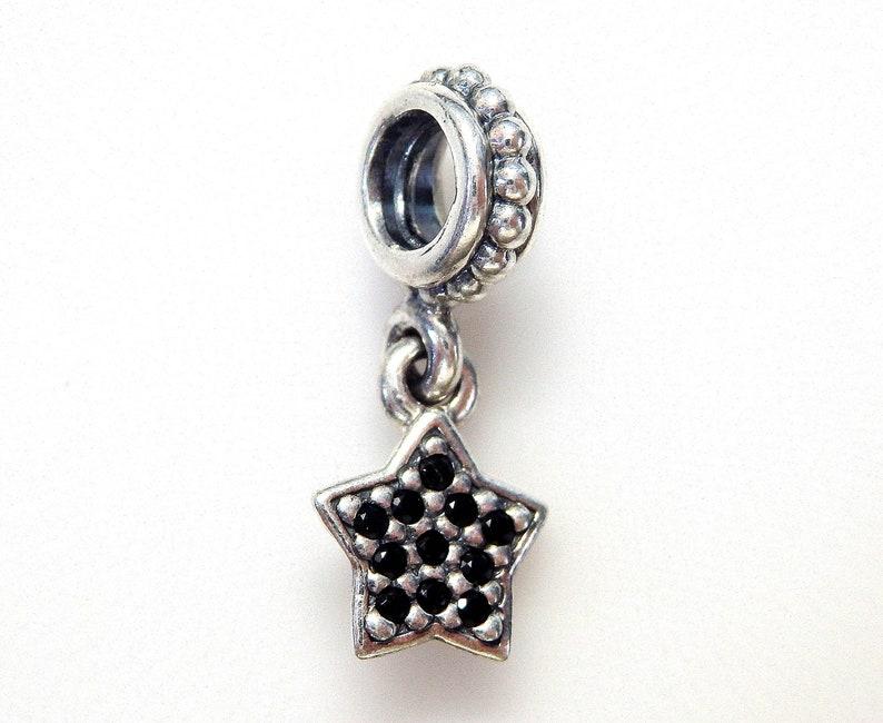 c3baa1b69 Authentic Pandora Sterling Silver Black Pave Star 791024NCK   Etsy