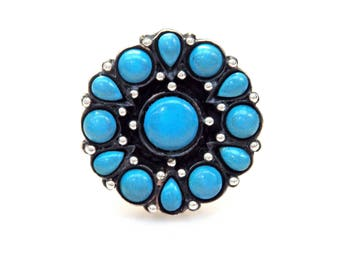 Sterling Silver Turquoise Flower Ring # 263725286347