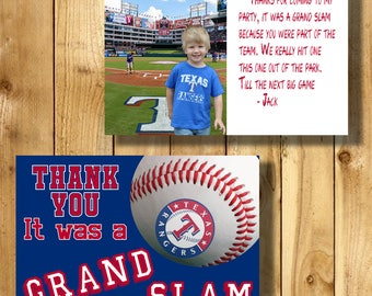 Texas Rangers 4x6 Thank You Note Cards