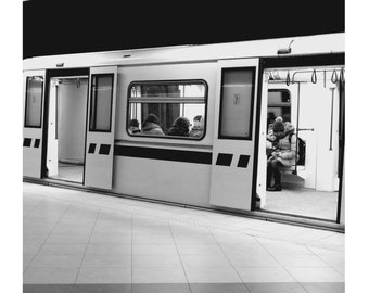 Black and White Photography , Metro Train, Prints,  Metro Station, Monochrome Decor, Wall Art, Minimal & Modern, Contemporary Home Art,