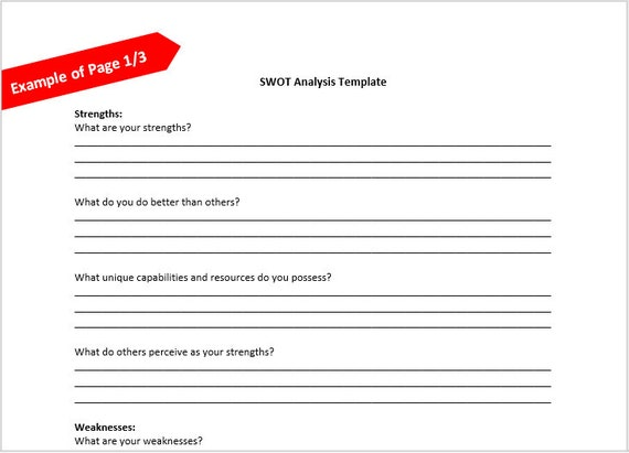 swot analysis template etsy