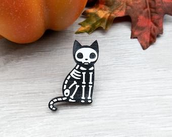 Cat Skeleton Pin - Laser Cut Halloween Badge - Acrylic Cat Brooch