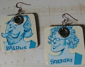 Like Music to my Ears! Reversible Handmade Composer/piano Earrings // Brahms & Schubert // Made from recycled Record Album Covers