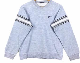 fdb3b18fe9 Vintage NIKE Swoosh Sweatshirt vtg Nike Spellout Big Logo Sportwear Nice  Design Sweater Blue Colour Large Size Shirt 90s