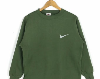 0e11febe Vintage NIKE Sweatshirt vtg Nike Swoosh Embroidery Big Logo Sportwear Nice  Design Sweater Green Colour Fashion Streetwear M Size