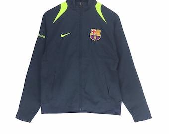 timeless design 069ab d65ab Vintage NIKE Swoosh Zipper Jacket Spellout Embroidery Big Logo vtg  Sportwear Barcelona Football Club Sweater Fashion Style Rap Tees
