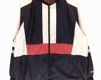 Rare !!! Vintage CANTERBURY of New Zealand Spellout Big Logo Windbreaker Jacket vtg Canterbury Rugby Sport Block Color Made In Japan