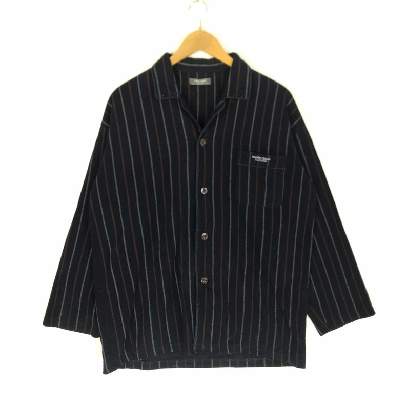 Rare !! Vintage Marie Claire Homme Button Up Polos Shirt Spellout Big Logo Stripe Design Jumper Pullover Sweater Fashion Streetwear Hip Hop