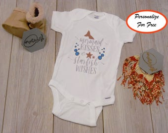 fc8245d76a99 MERMAID KISSES STARFISH Wishes Baby Onesie® Baby Shower Gifts