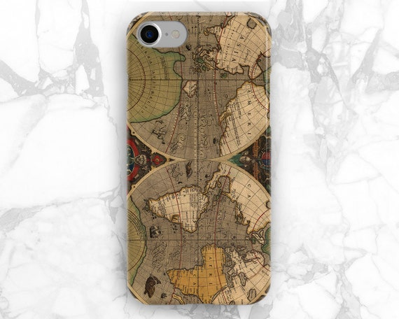 Iphone 6 World Map Case.Map Vintage Iphone World Map Case Iphone Hard Case Iphone 8 Etsy