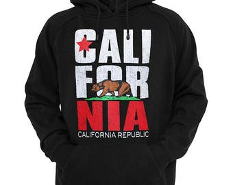 0f5bdac42 California Republic Bear Flag Hoodie Pullover Fleece Sweatshirt Hoody  Sweater Ribbed Cuffs, Relaxed Waistband, Warm Hoodie, Casual-wear