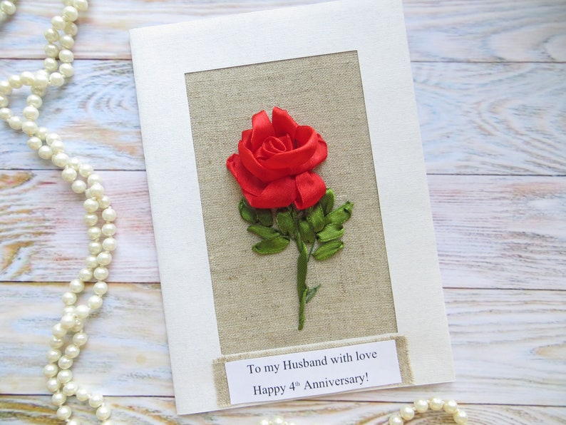 12th 4th Anniversary Card For Him Men Linen Gift