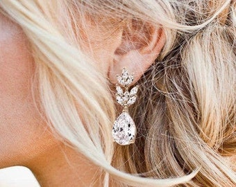 Gift Idea for Her Wedding Earrings for Brides Crystal Silver Earrings Bride Earrings Earrings MADISON  Wedding Jewellery for Brides