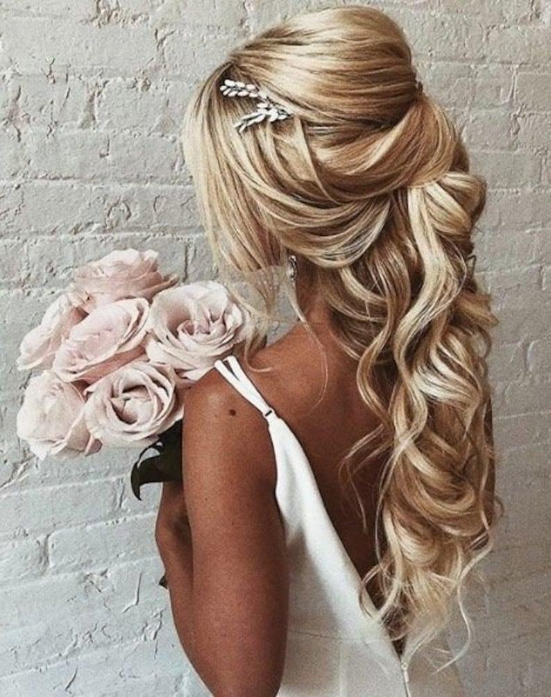 Bridal hair piece Crystal Opal hair comb Blue Opal Bridal hair image 0