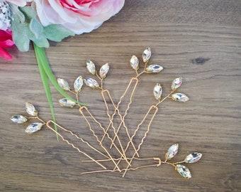 Crystal Hair pins Bridal hair pins Crystal Wedding hair pins Gold Bridal hair pins Silver Wedding hair pins Bridesmaids hair pins Crystal