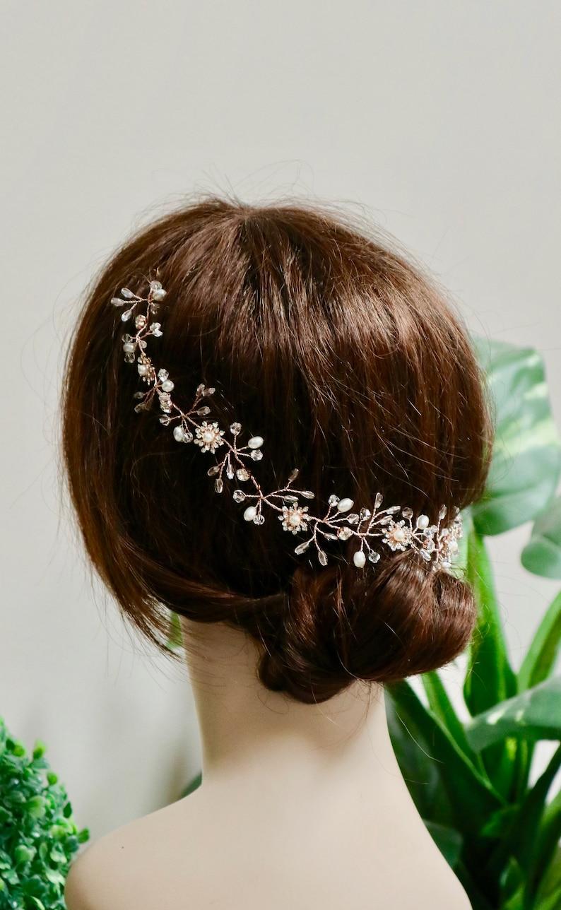Bridal hair piece Bridal hair vine Bridal headpiece Bridal hair comb Wedding hair comb Wedding hair piece Rose Gold hair vine