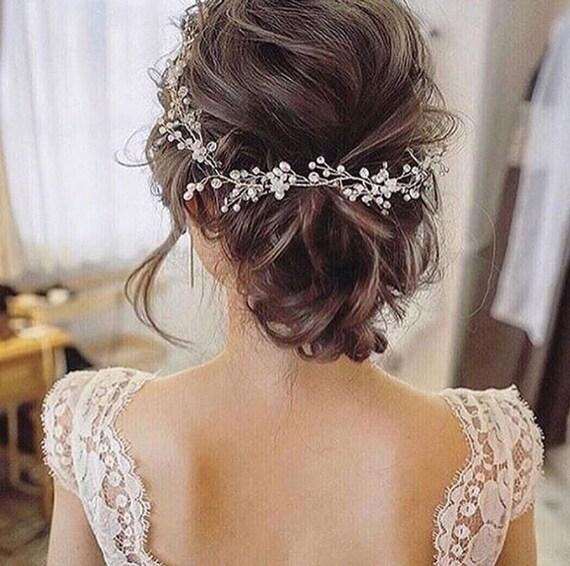 Bridal hair vine Beach wedding Bridal hair vine Bridal hair accessories Tocado de Bridesmaid gift Wedding hair piece Halo Jewelry Pearl vine