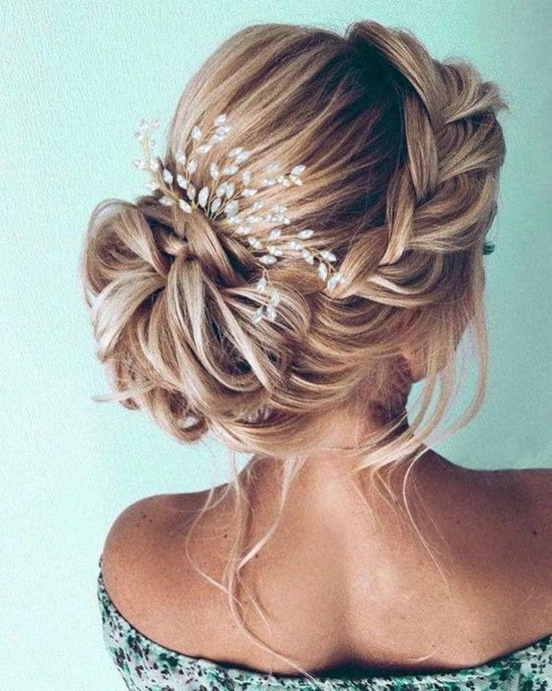 Crystal Wedding Comb Blue Opal Hair Comb Bridal Hair Comb image 0