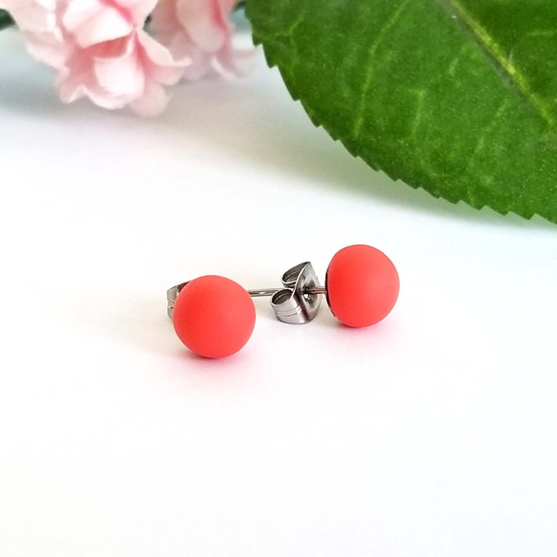 stainless steel titanium studs Matte polymer clay earring studs Simple 12 mm round disc studs Coral Red stud earrings 6 mm ball studs