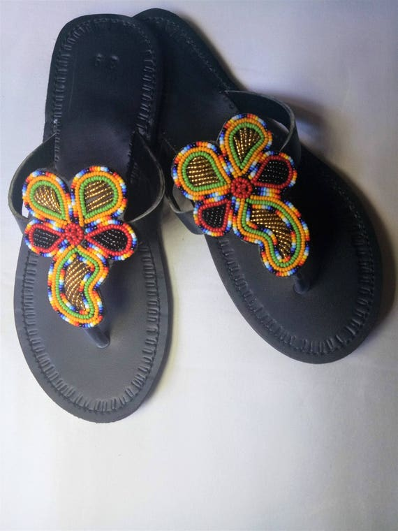 Leather sandals, Multicolor sandals, Maasai sandals, Summer shoes, beaded sandals, masai sandals, african sandals,flower sandals, thongs