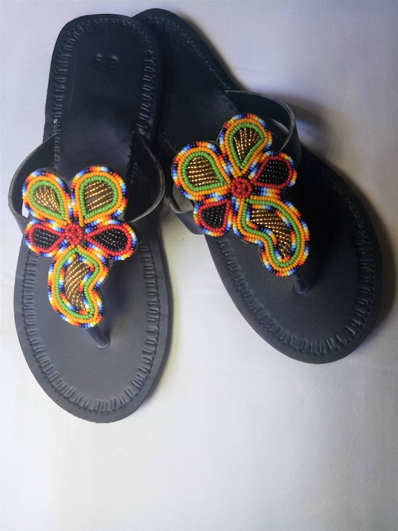 baf9a54cb Leather sandals Multicolor sandals Maasai sandals Summer