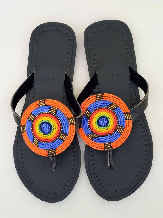 Leather sandals, Multicolor thongs, Maasai sandals, Summer shoes, beaded sandals, sandals, masai sandals, african sandals,african shoes