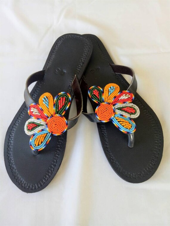 Leather sandals, Multicolor sandals, Maasai sandals, Summer shoes, beaded sandals, african sandals, womens sandals, thongs,african shoes