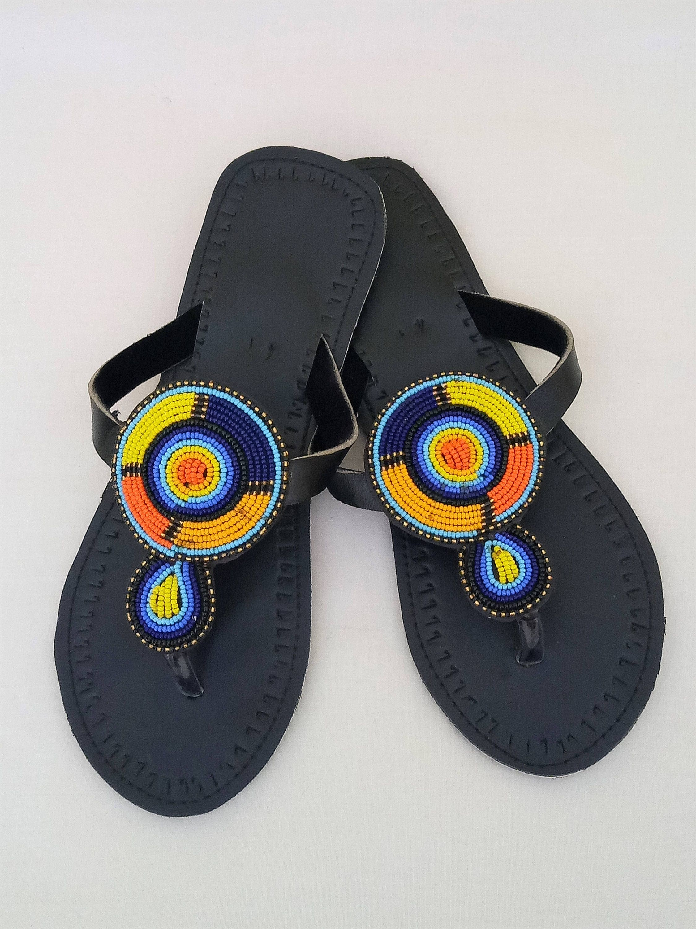 ae363383294a Leather sandals Multicolor Maasai sandals Summer shoes