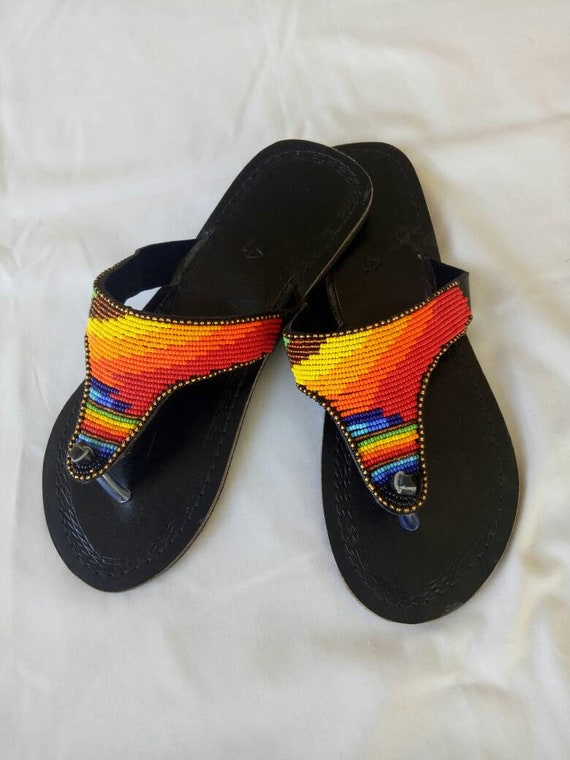 Leather sandals, Multicolor sandals, Maasai sandals, Summer shoes, beaded sandals, masai sandals, african sandals,flower sandals, thongs,