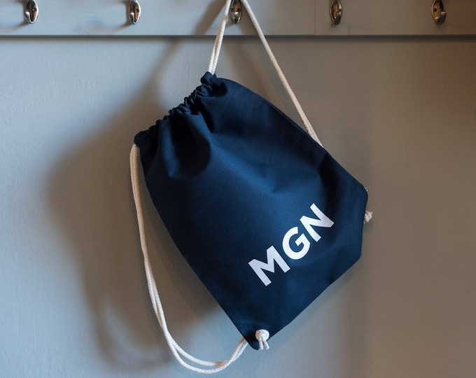 Featured listing image: Personalised Navy Gym bag. 100% cotton drawstring bag