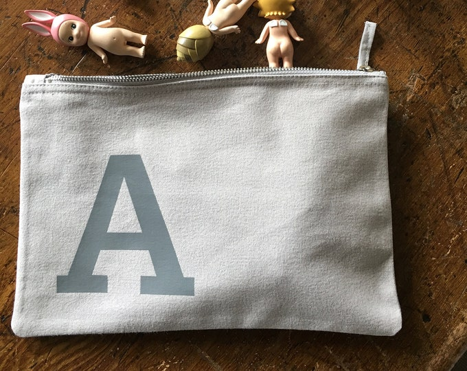 Featured listing image: Grey Cotton Nappy Bag / Toy Bag / Mini Clutch personalised with your initial