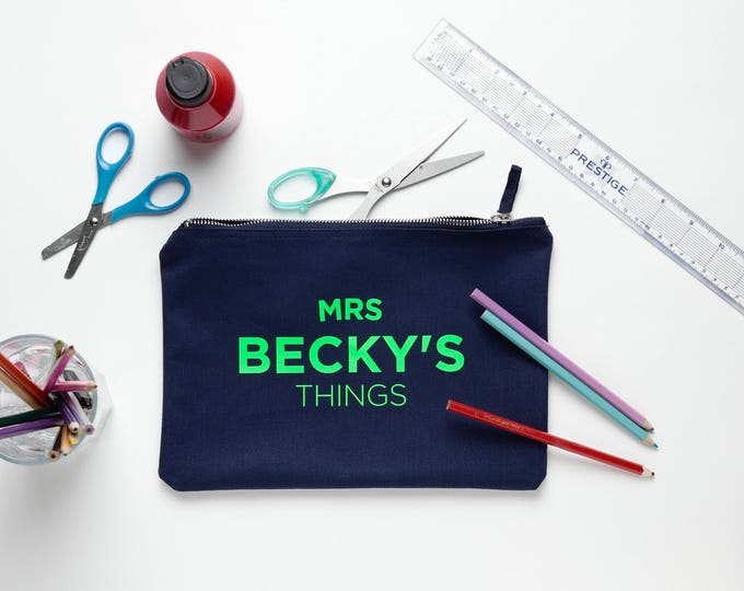 Featured listing image: Navy Cotton Teacher's Bag / Makeup Bag / mini clutch personalised with your Teacher's name
