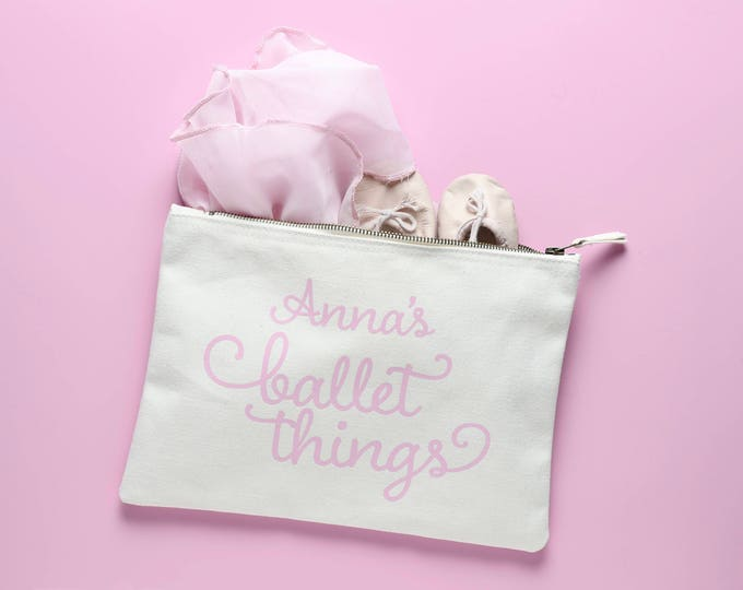 Featured listing image: Natural Cotton Ballet bag personalised with your child's name