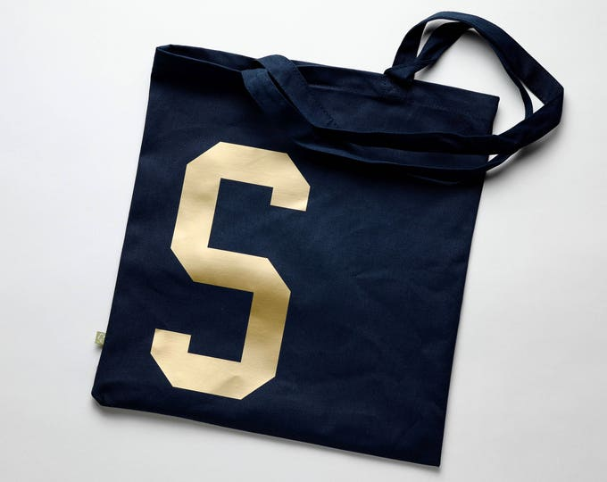 Featured listing image: Navy and Gold Cotton Tote Bag for Life with personalised college style initial